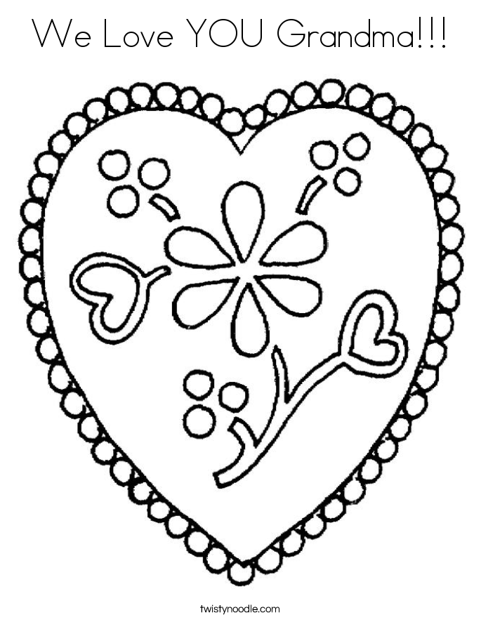We Love YOU Grandma!!! Coloring Page