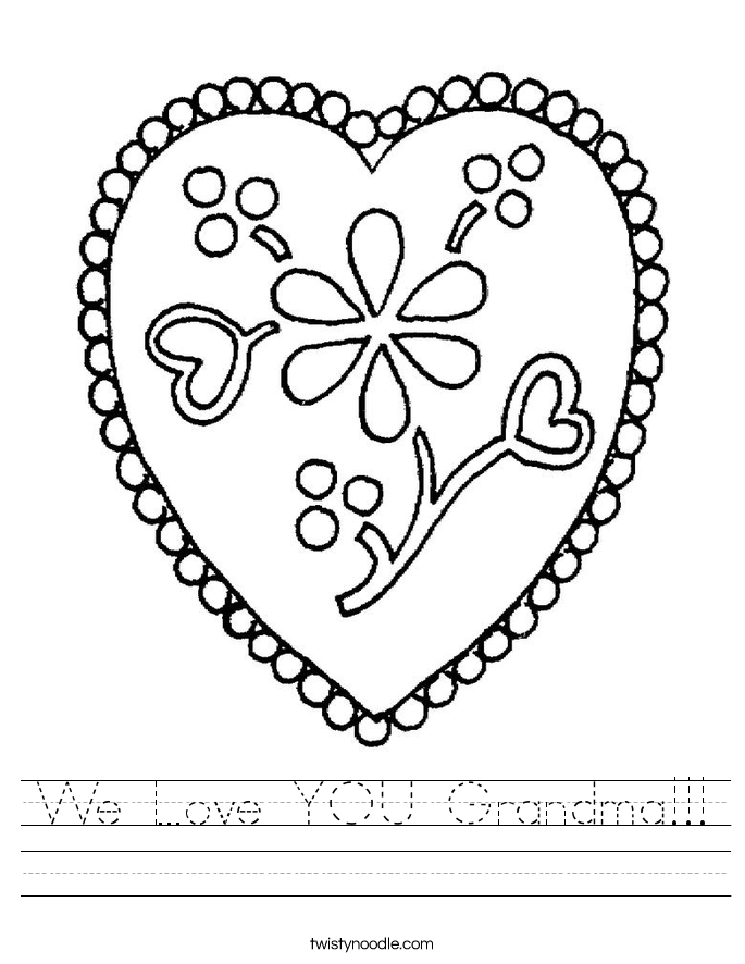 We Love YOU Grandma!!! Worksheet