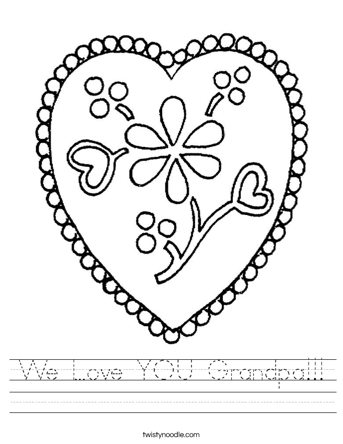 We Love YOU Grandpa!!! Worksheet
