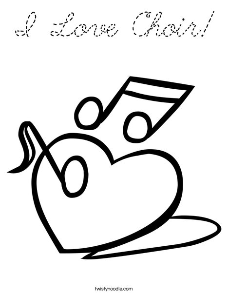 Heart with Notes Coloring Page