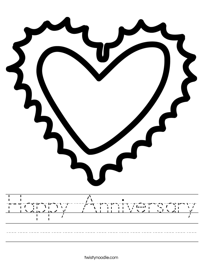 Happy Anniversary Worksheet