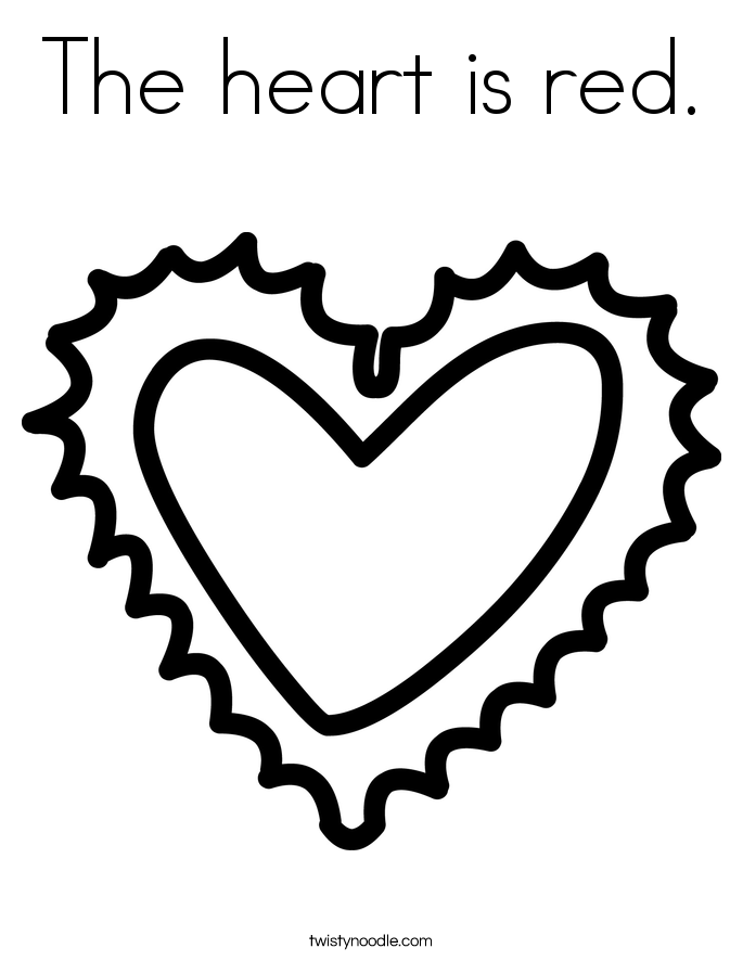 The heart is red. Coloring Page