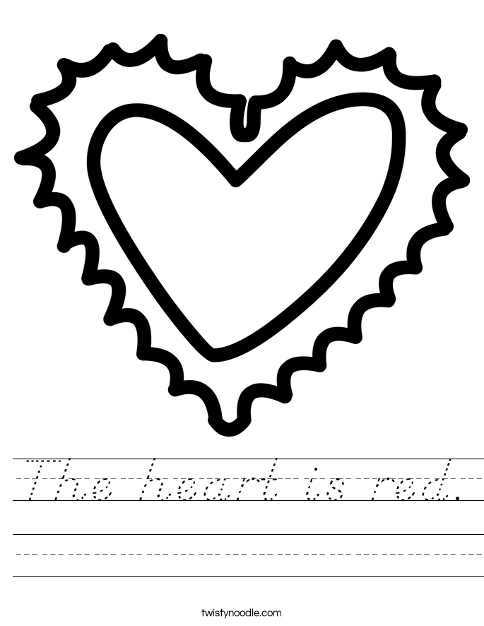 The heart is red. Worksheet