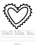 We'll Miss You Worksheet