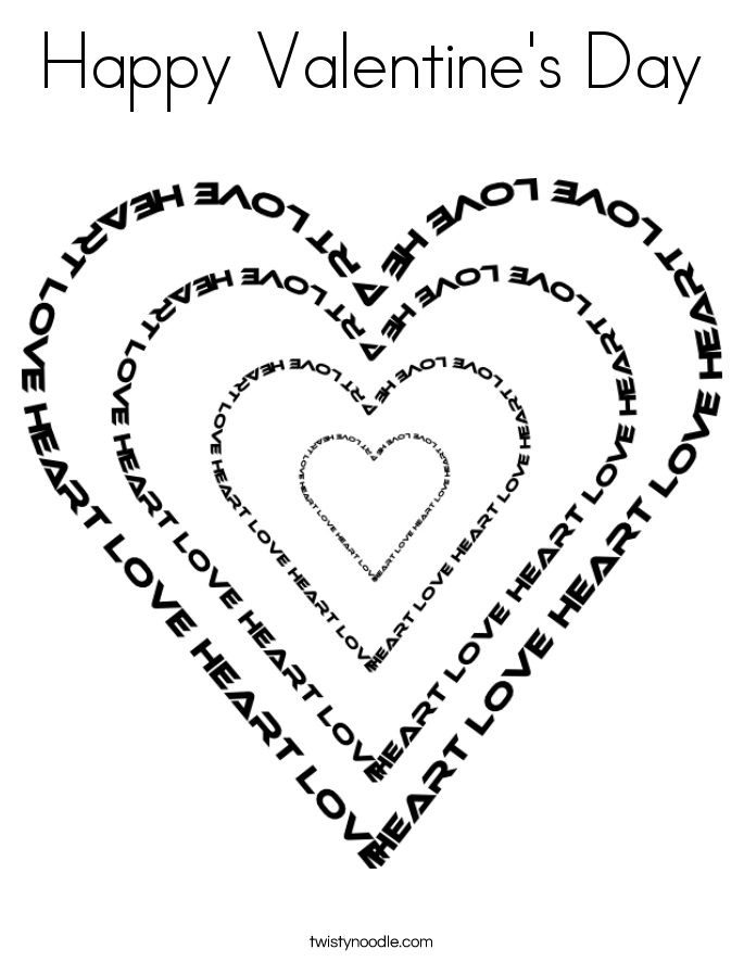 happy valentines day coloring page - Valentine Day Coloring Pages