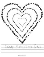 Happy Valentine's Day Handwriting Sheet