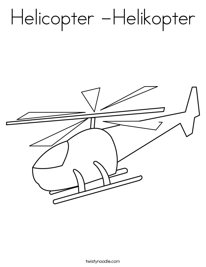 Helicopter -Helikopter Coloring Page