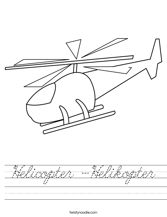 Helicopter -Helikopter Worksheet