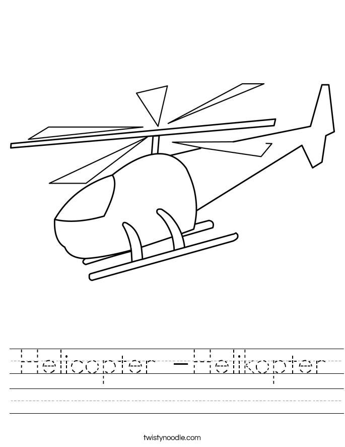 Helicopter -Helikopter Worksheet
