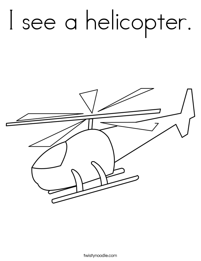 I see a helicopter. Coloring Page