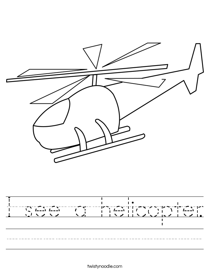 I see a helicopter. Worksheet