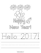 Hello 2017 Handwriting Sheet