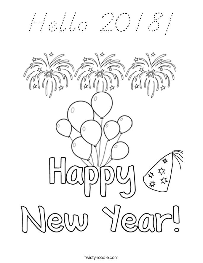 Hello 2018! Coloring Page