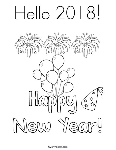 new years resolution coloring pages | Hello 2018 Coloring Page - Twisty Noodle