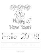 Hello 2018 Handwriting Sheet