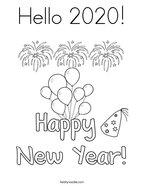 Hello 2020 Coloring Page