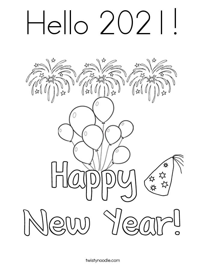 Hello 2021! Coloring Page