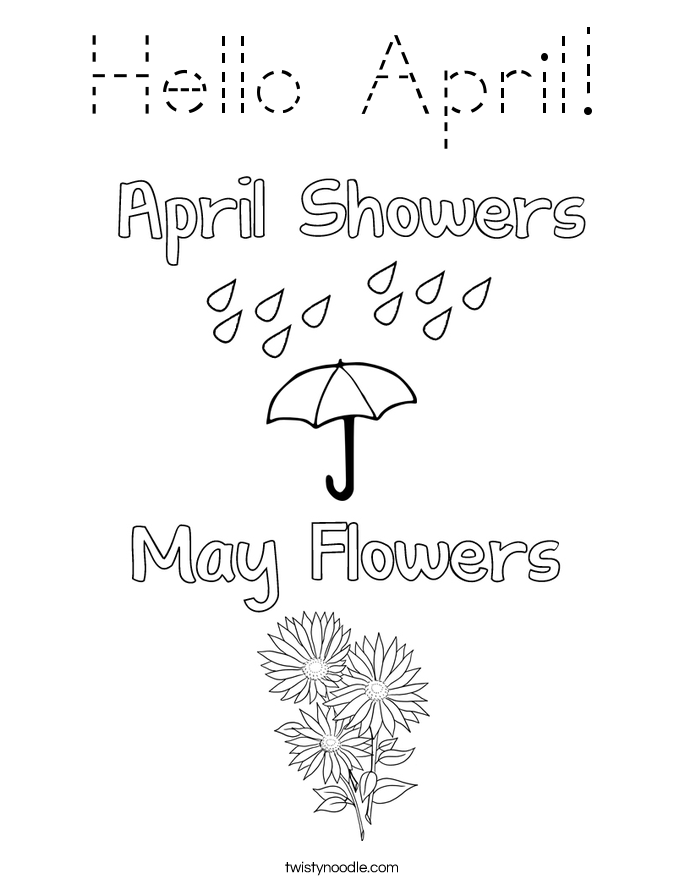 Hello April! Coloring Page