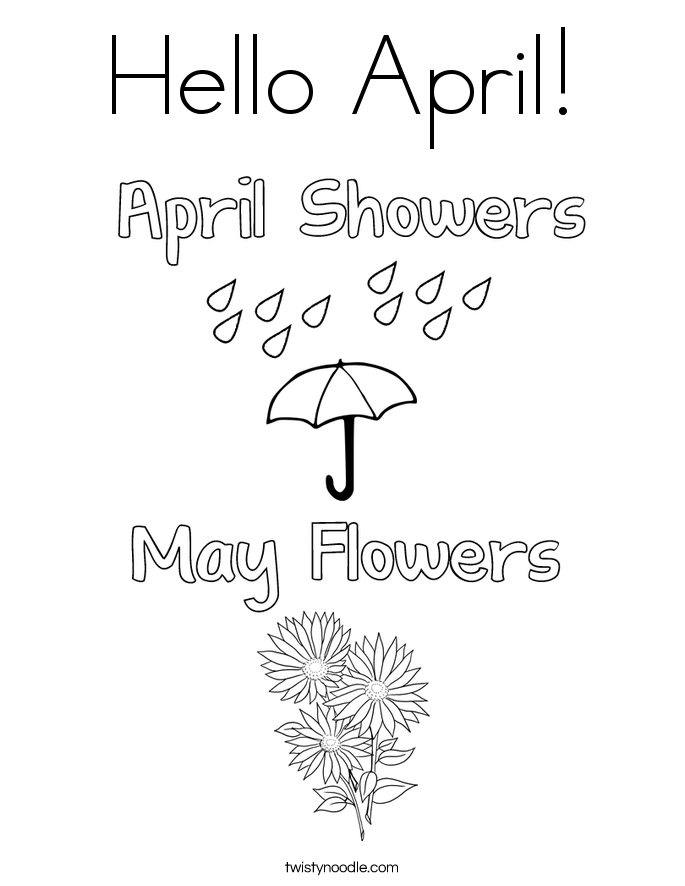 Hello April! Coloring Page