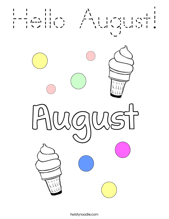 Hello August! Coloring Page
