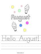 Hello August Handwriting Sheet