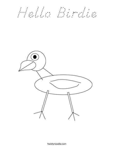 Hello Birdie Coloring Page