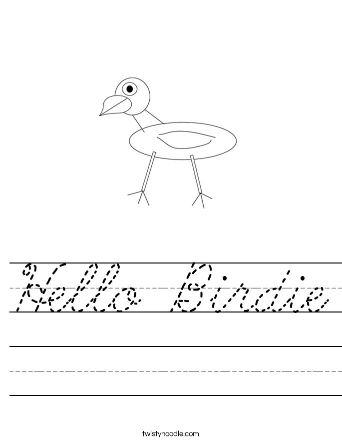Hello Birdie Worksheet