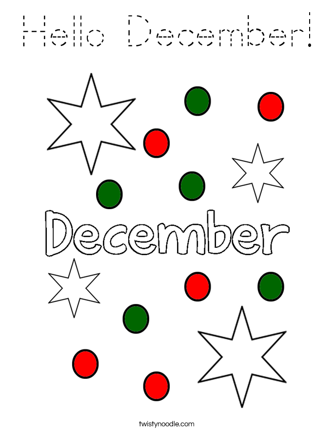 Hello December! Coloring Page
