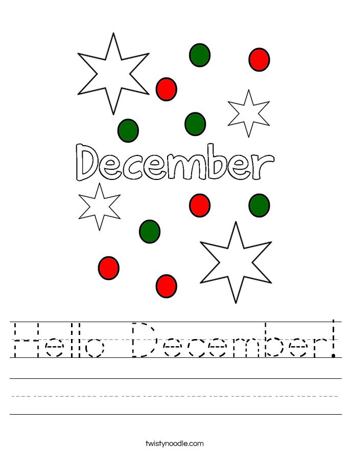 Hello December! Worksheet