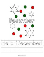 Hello December Handwriting Sheet