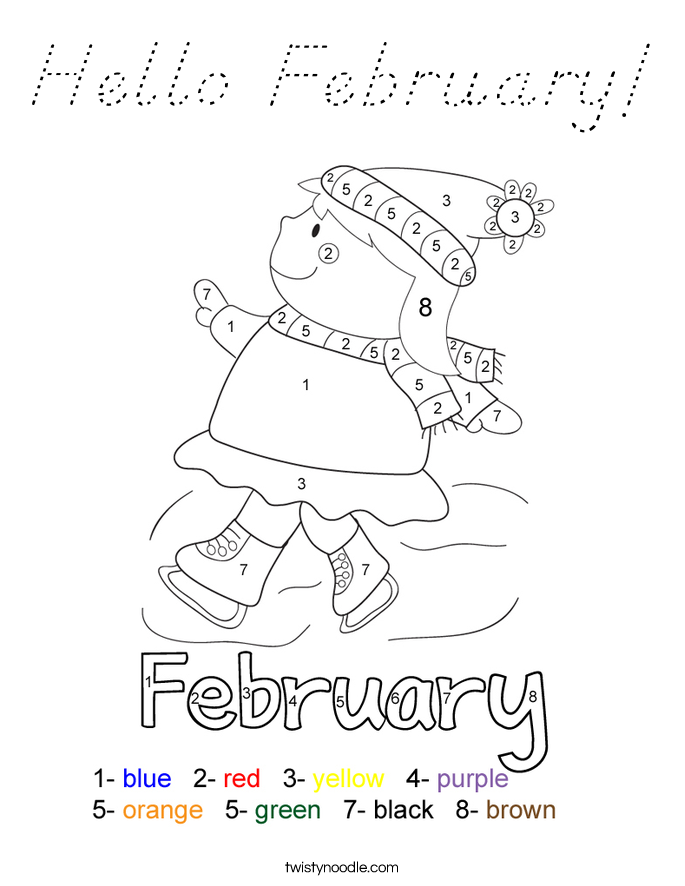 Hello February! Coloring Page