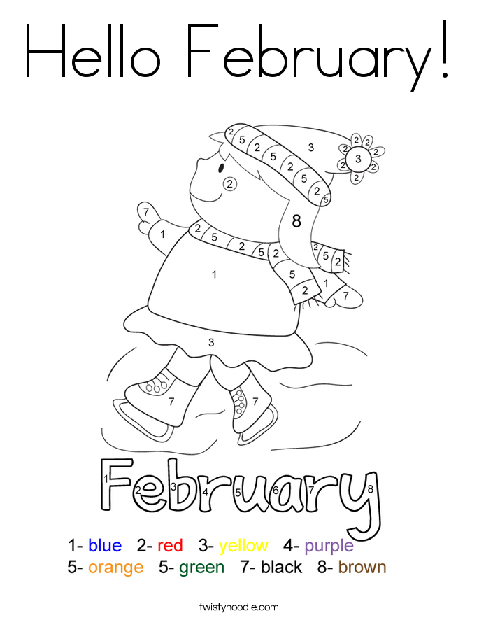 Hello February Coloring Page - Twisty Noodle