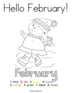 Hello February Coloring Page
