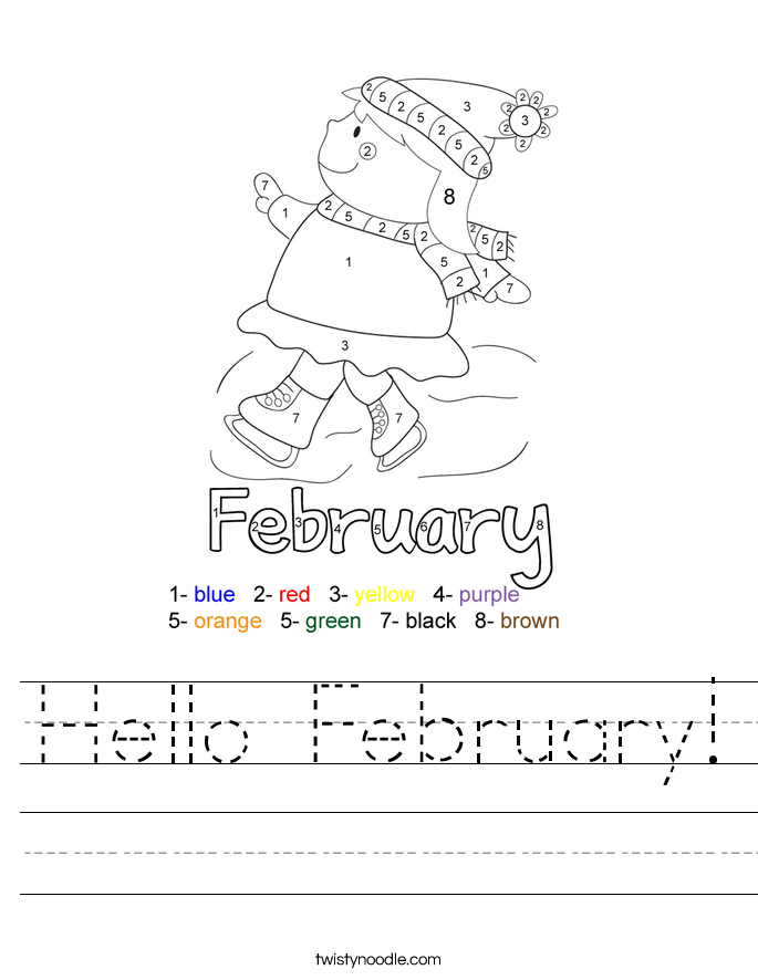 Worksheets For February : Hello february worksheet twisty noodle
