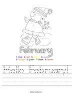 Hello February Handwriting Sheet