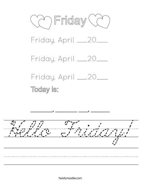 Hello Friday! Worksheet