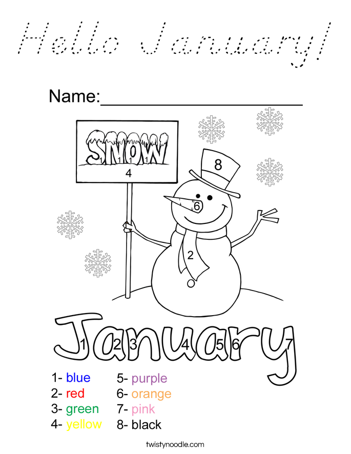 Hello January! Coloring Page