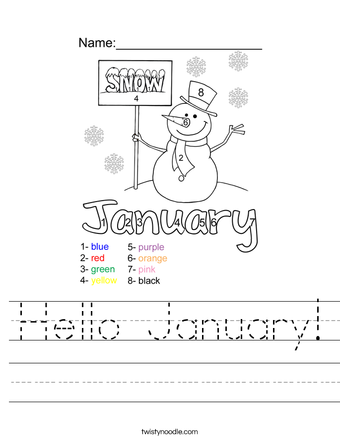 Hello January! Worksheet