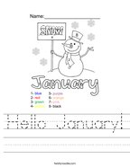 Hello January Handwriting Sheet