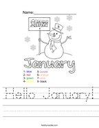 Hello January Handwriting Sheet