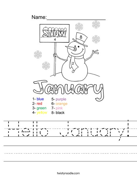 Hello January Worksheet