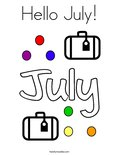 Hello July! Coloring Page