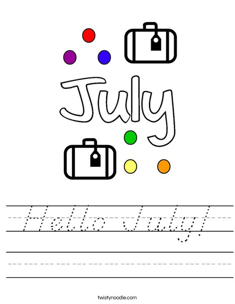 Hello July! Worksheet