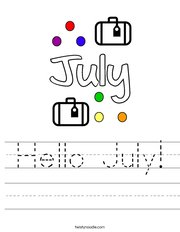 Hello July Handwriting Sheet