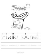 Hello June Handwriting Sheet