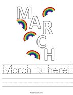 March is here Handwriting Sheet