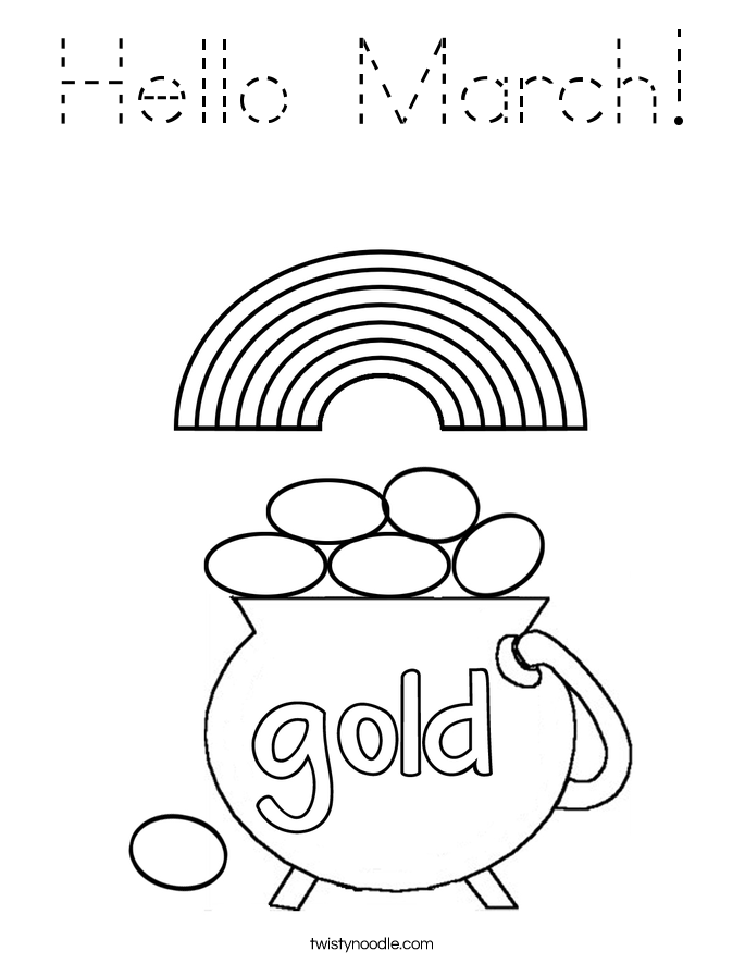 Hello March Coloring Page - Tracing - Twisty Noodle