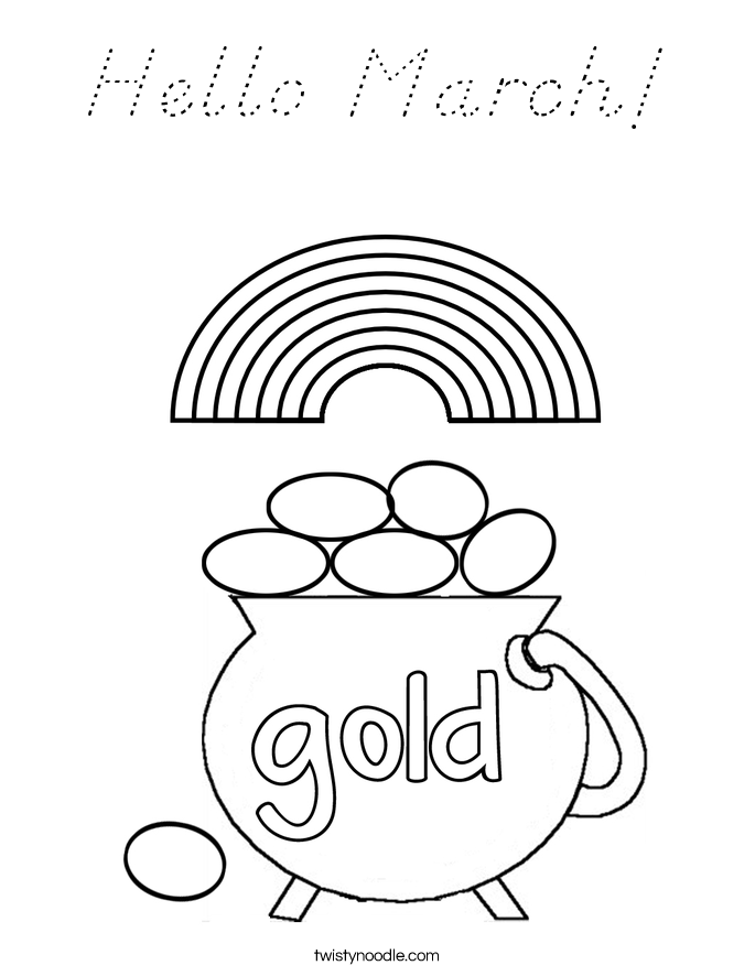 Hello March! Coloring Page