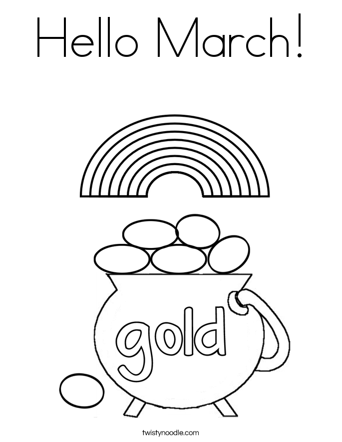 Hello March Coloring Page Twisty Noodle