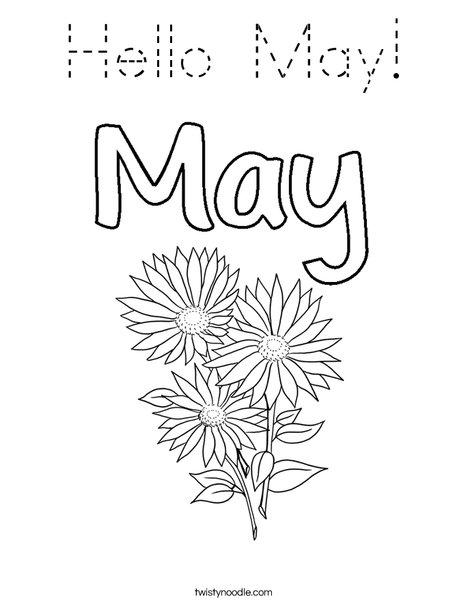 Hello May! Coloring Page